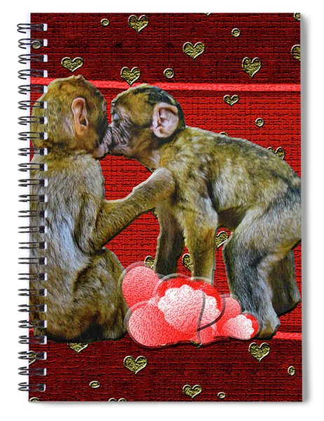 Kissing Chimpanzees Hearts Spiral Notebook