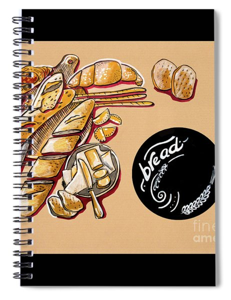 Kitchen Illustration Of Menu Of Bread Products  Spiral Notebook