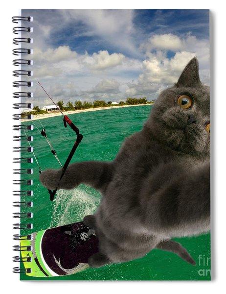 Kite Surfing Cat Selfie Spiral Notebook