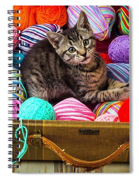 Kitten In Suitcase With Yarn Spiral Notebook