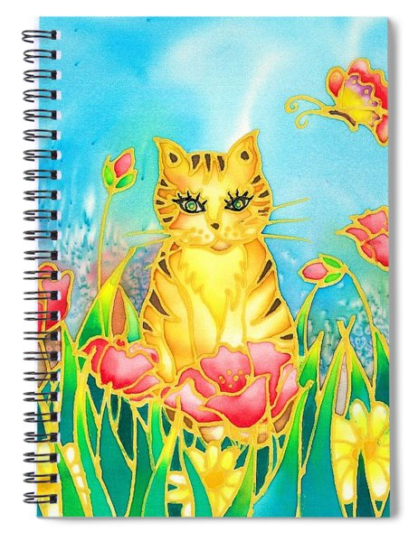 Kitty And Poppies Spiral Notebook