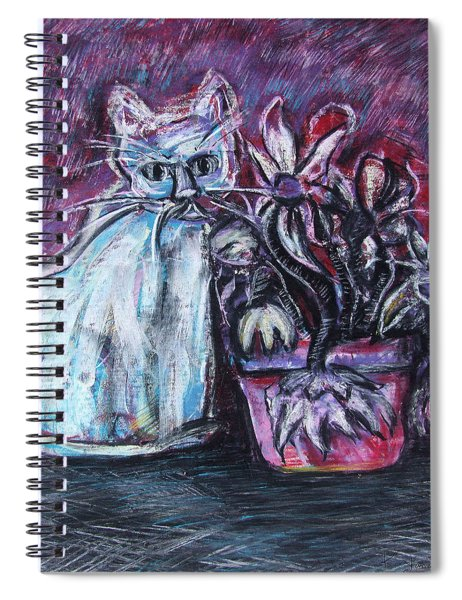 Kitty With Flowers Spiral Notebook