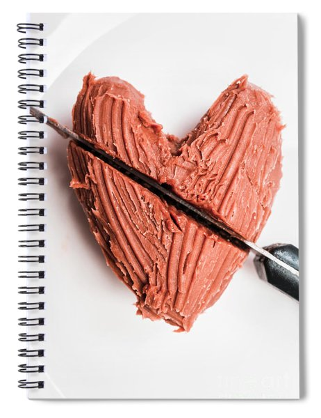 Knife Cutting Heart Shape Chocolate On Plate Spiral Notebook