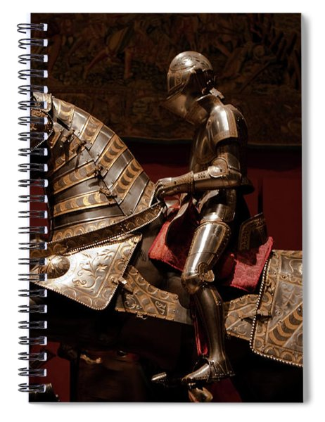 Spiral Notebook featuring the photograph Knight And Horse In Armor by Lorraine Devon Wilke