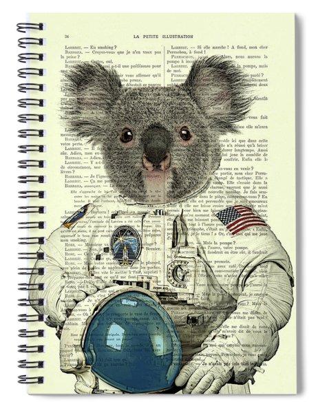 Koala In Space Illustration Spiral Notebook