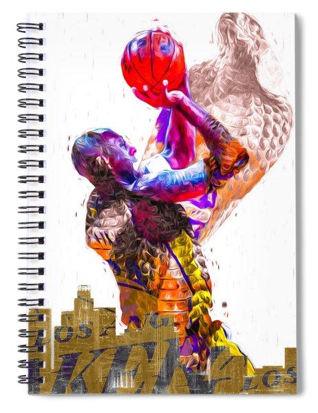Kobe Bryant Los Angeles Lakers Digital Painting Snake 1 Spiral Notebook