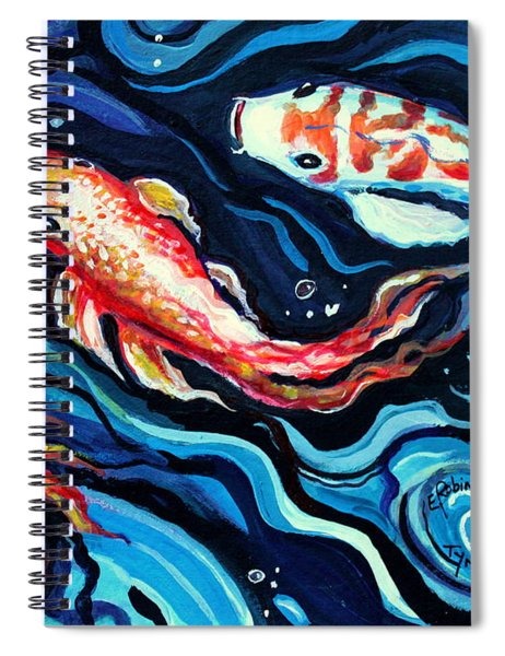 Koi Fish In Ribbons Of Water II Spiral Notebook