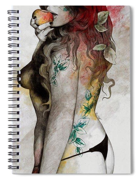 Koi No Yokan - Erotic Drawing, Sexy Tattoo Girl In Thong Biting An Apple Spiral Notebook