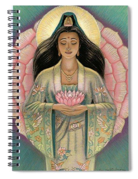 Kuan Yin Pink Lotus Heart Spiral Notebook