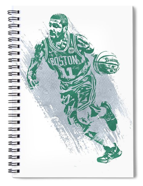 Kyrie Irving Boston Celtics Water Color Art 2 Spiral Notebook