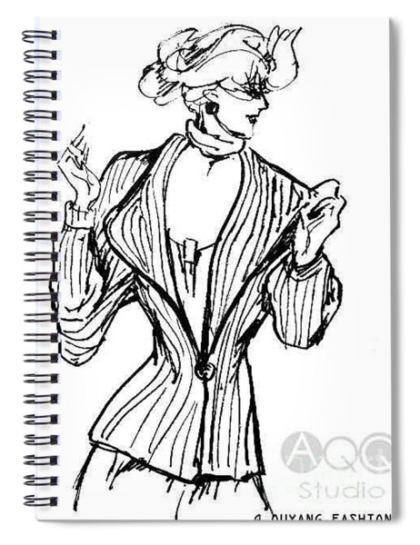 Lady In Fashion Coat Spiral Notebook