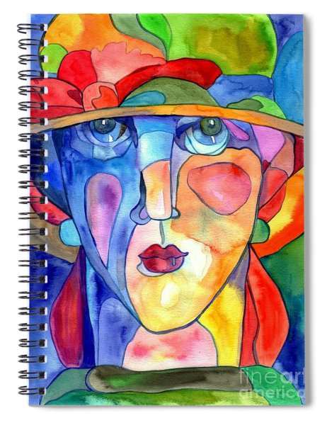 Lady In Hat Watercolor Spiral Notebook