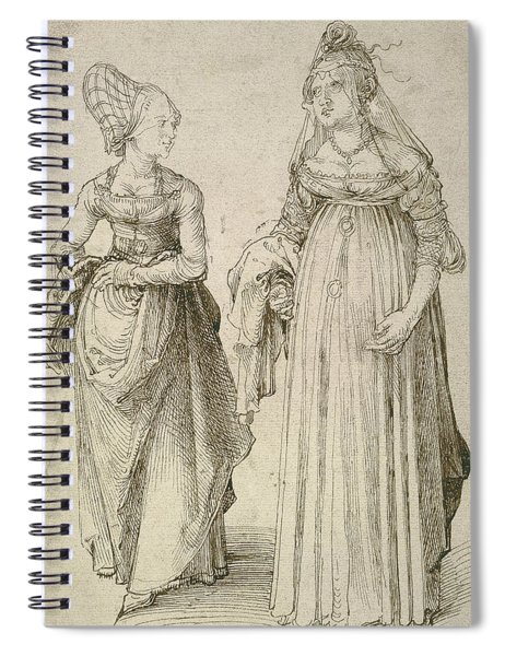 Lady In Venetian Dress Contrasted With A Nuremberg Hausfrau Spiral Notebook