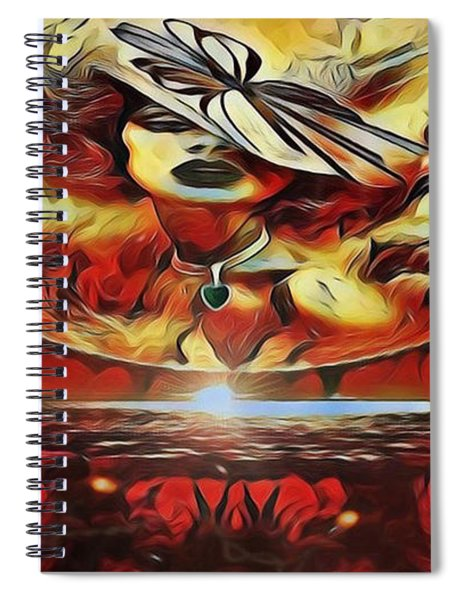 Lady Moon Light In Red Spiral Notebook