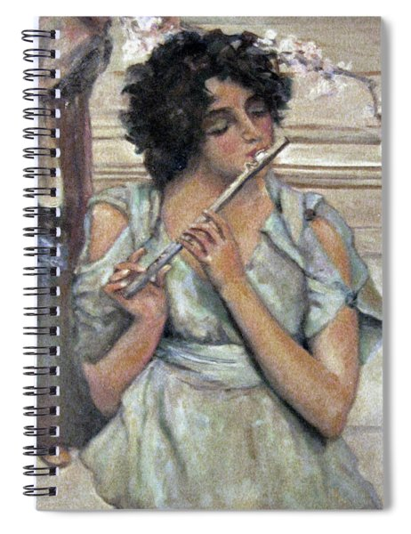 Lady Playing Flute Spiral Notebook