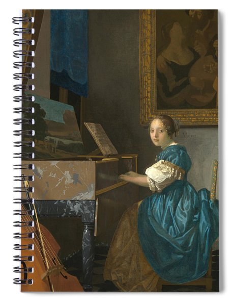 Lady Seated At A Virginal Spiral Notebook