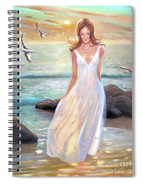 Lady Walking On The Beach Spiral Notebook