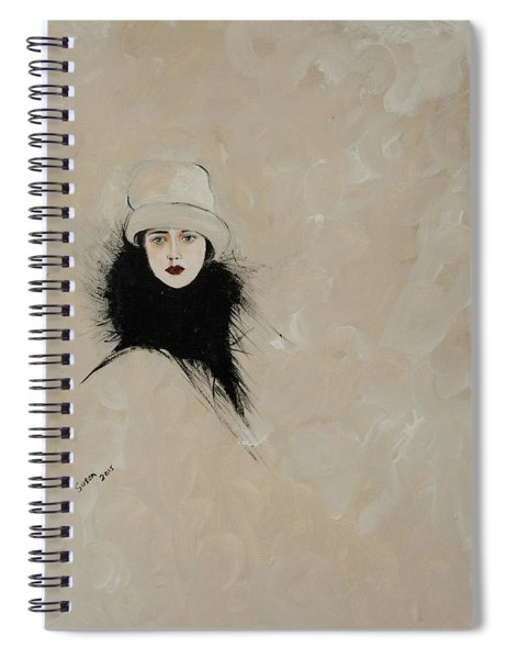 Lady With Black Fur Spiral Notebook
