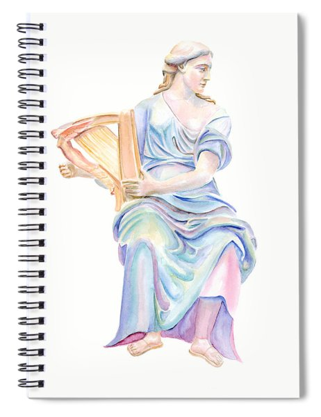 Lady With The Golden Harp Spiral Notebook