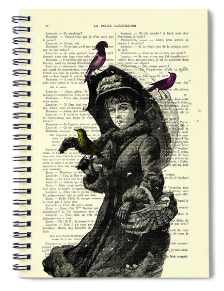 Lady With Umbrella In Winter Landscape Print On Old Book Page Spiral Notebook