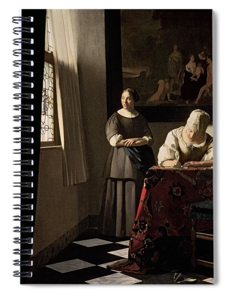 Lady Writing A Letter With Her Maid Spiral Notebook