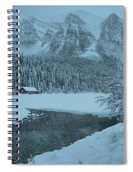 Lake Louise Foggy Snowy Morning Spiral Notebook