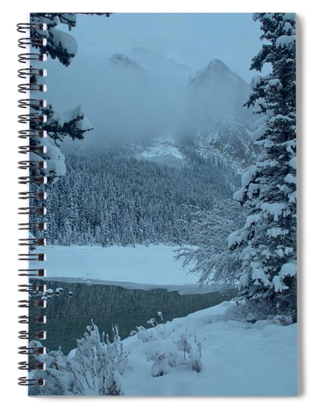 Lake Louise Foggy Winter Morning Spiral Notebook