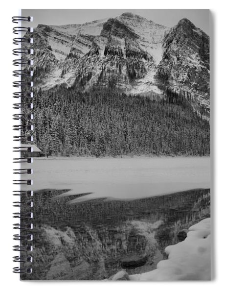 Lake Louise Frosty Sunrise Reflections Black And White Spiral Notebook