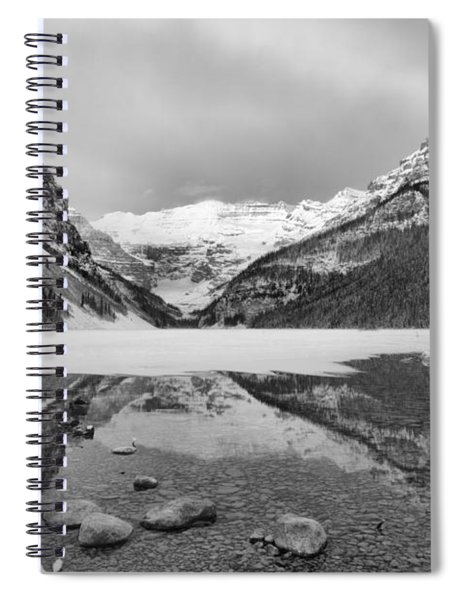 Lake Louise Icy Reflections Black And White Spiral Notebook
