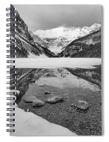 Lake Louise Snowy Reflections Black And White Spiral Notebook