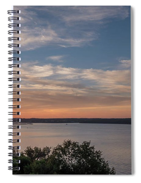 Lake Travis During Sunset With Clouds In The Sky Spiral Notebook