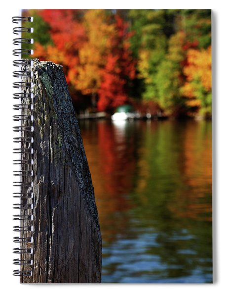 Lake Winnepesaukee Dock With Foliage In The Distance Spiral Notebook