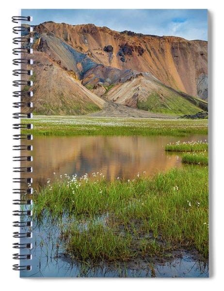 Landmannalaugar Tarn Spiral Notebook by Inge Johnsson
