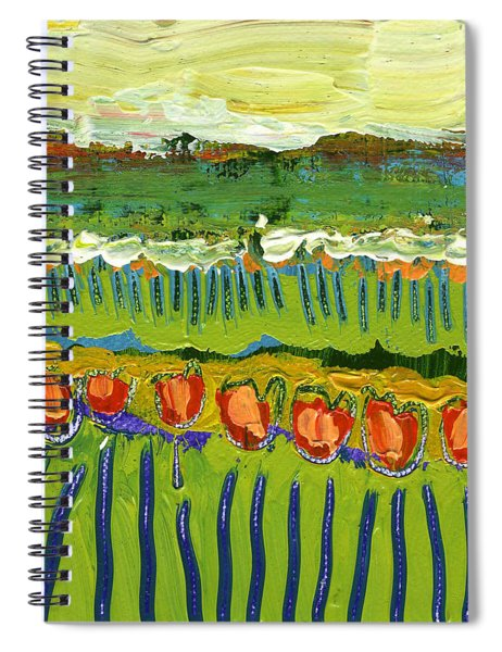 Landscape In Green And Orange Spiral Notebook