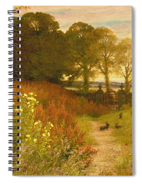 Landscape With Wild Flowers And Rabbits Spiral Notebook