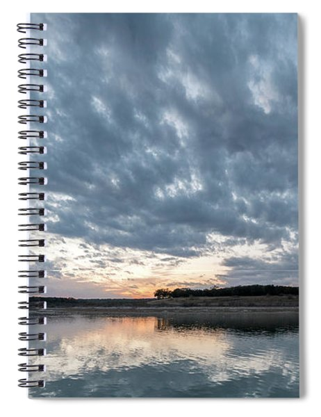 Large Panorama Of Storm Clouds Reflecting On Large Lake At Sunse Spiral Notebook
