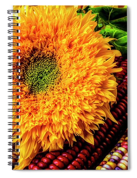 Large Sunflower On Indian Corn Spiral Notebook