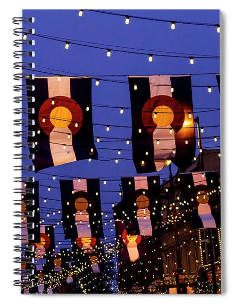 Larimer Square Denver With Colorado Flags Spiral Notebook