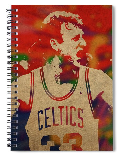 Larry Bird Watercolor Portrait Spiral Notebook