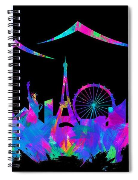 Las Vegas Skyline Silhouette Iv Spiral Notebook
