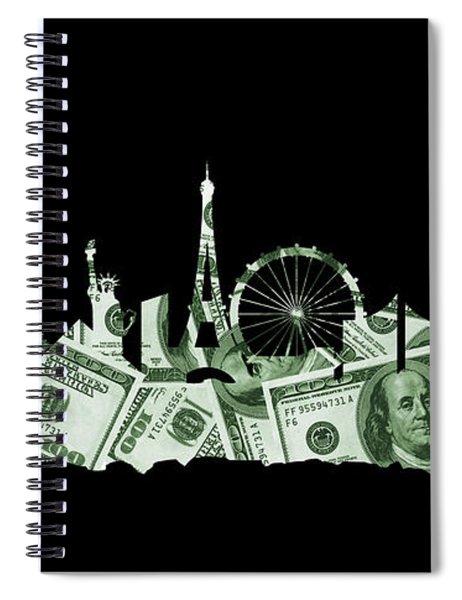 Las Vegas Skyline Silhouette Money Spiral Notebook