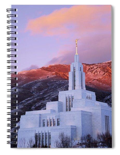 Last Light At Draper Temple Spiral Notebook