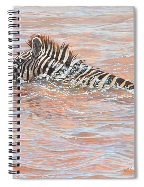Spiral Notebook featuring the painting Last To Cross by Alan M Hunt