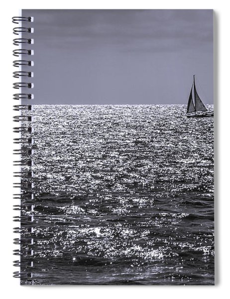 Sailboat Off The Coast At San Diego Spiral Notebook