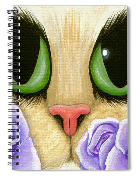 Lavender Roses Cat - Green Eyes Spiral Notebook
