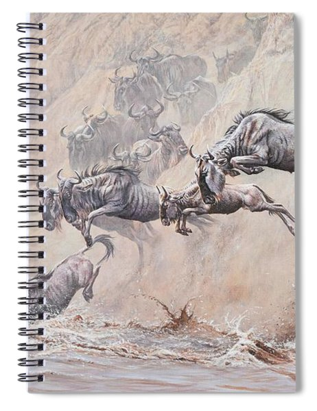 Spiral Notebook featuring the painting Leap Of Faith by Alan M Hunt