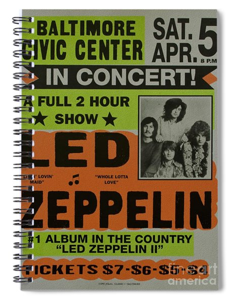 Led Zeppelin Live In Concert At The Baltimore Civic Center Poster Spiral Notebook