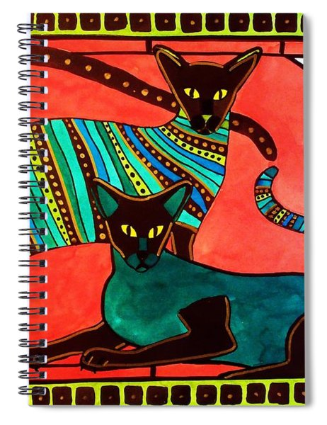 Legend Of The Siamese - Cat Art By Dora Hathazi Mendes Spiral Notebook