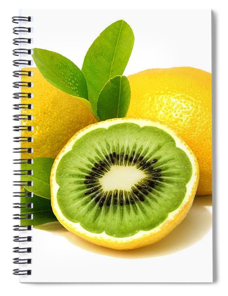 Spiral Notebook featuring the digital art Lemon Kiwi by ISAW Company