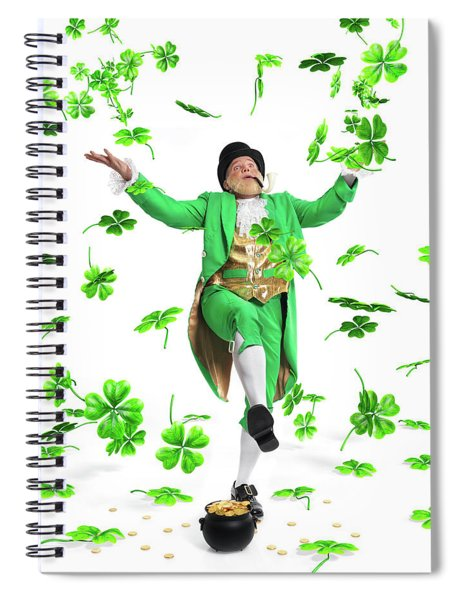 Leprechaun Tossing Shamrock Leaves Up In The Air Spiral Notebook by Maxim Images Prints